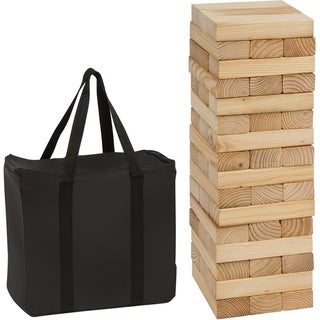 48 Piece 1.5'Tall Giant Wooden Stacking Puzzle Game with Carry Case