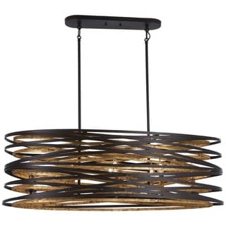 Vortic Flow Dark Bronze W/Mosaic Gold Inte Island Light by Minka Lavery