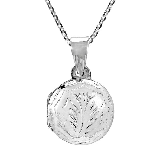 Carved Tree Branch Round Locket Sterling Silver Necklac (Thailand) 33424759