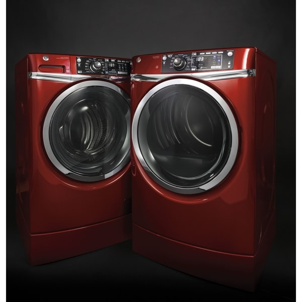 GE RightHeight Design Series  GFD49ERPKRR 28 Inch Electric Dryer and Front Load Washer Set 33433479