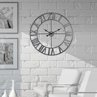 Rivet Edge Roman Industrial Wall Clock, Pewter, 32 in.