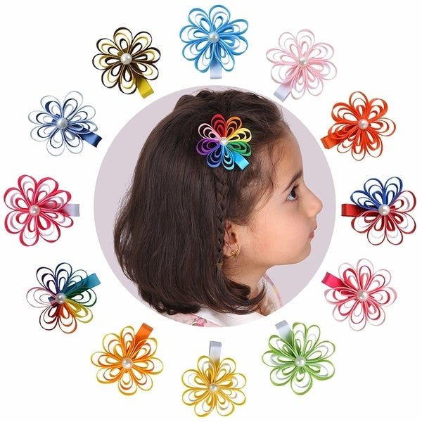 Tiny Flower Ribbon Hair Bows For Baby Girls, 12 Pk 33444810