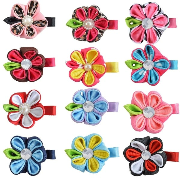 Tiny Petal Flower Ribbon Hair Bows For Baby Girls, 12 Pk 33444903