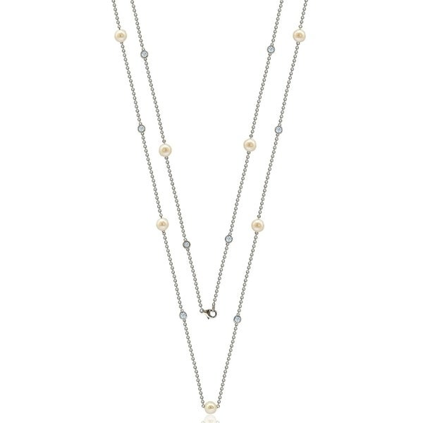 "Suzy Levian Sterling Silver White Sapphire and Pearl By the Yard 36"" Station Necklace 33447623"