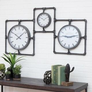 "Ferris Industrial 3-Face Wall Clock - 26""h x 49""w x 2""d"