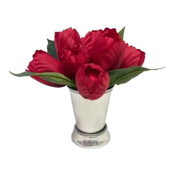 Tulip arrangement in mint julep cup 33459873