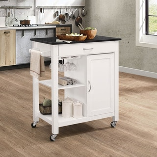 Porch & Den Glenn Black/White Kitchen Cart