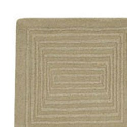 Hand-crafted Solid Beige Geometric Manhattan Wool Rug (5' x 8')