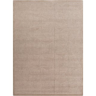Hand-crafted Solid Beige Geometric Manhattan Wool Rug (8' x 11')