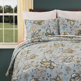 Bethany Blue Cotton Quilt Set