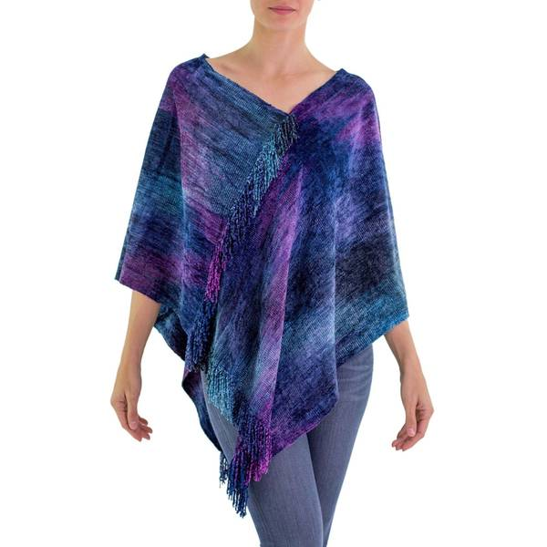 Handmade Cotton Blend 'Full Moon Night' Poncho (Guatemala) 33504778