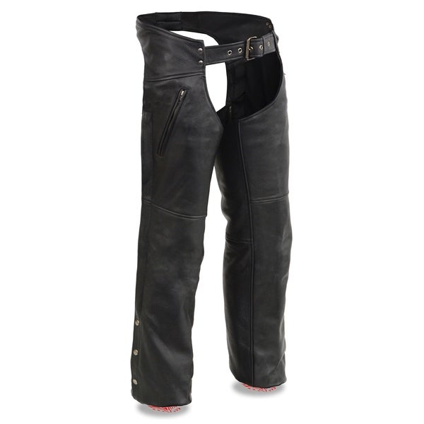 Men's Leather Chaps w/ Zippered Thigh Pockets & Heated Technology 33507670
