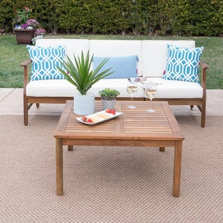 Perla Outdoor Acacia Wood 4-piece Sofa and Table Set with Cushions by Christopher Knight Home
