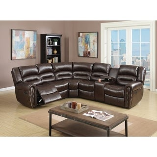 Bonded Leather 3 Piece Reclining Sectional, Brown