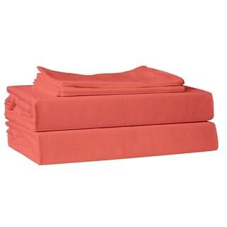 Just Linen 220 TC 100% Cotton Sateen, Solid Color 4 Piece Sheet Set