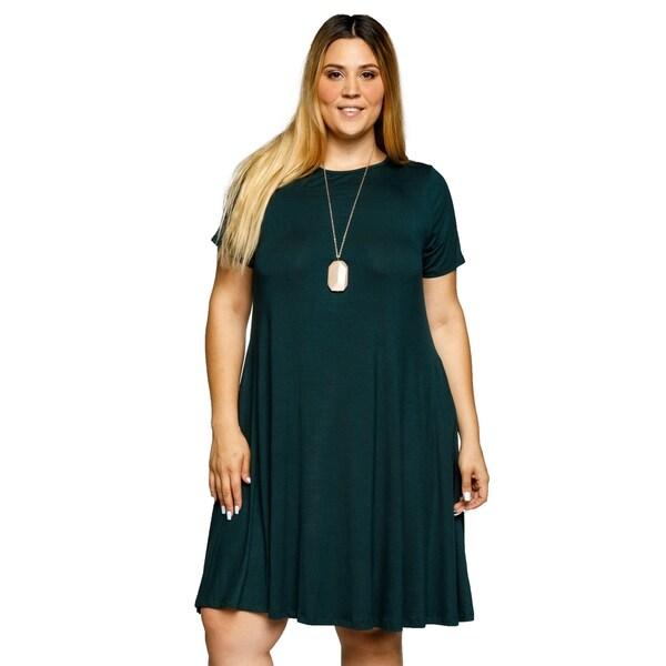 Xehar Womens Plus Size Casual Short Sleeve A-Line Midi Dress 33523432