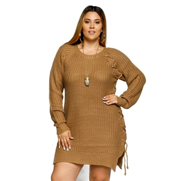 Xehar Womens Plus Size Long Sleeve Gold Grommet Lace Up Tunic Sweater 33523514