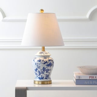 "Penelope 22"" Chinoiserie LED Table Lamp, Blue/White by JONATHAN Y"