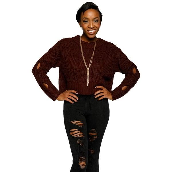 Xehar Womens Stylish Hole Cropped Knit Sweater 33530221