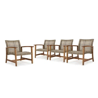 Hampton Outdoor Mid Century Wicker Club Chair (Set of 4) by Christopher Knight Home