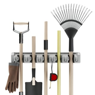 Shovel, Rake and Tool Holder with Hooks- Wall Mounted Organizer for -Space Saving Rack by Stalwart