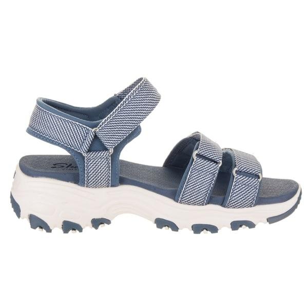 Women's Skechers D'Lites Cross Breeze Sport Sandal Blue 33597454