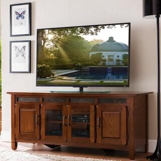 Rustic Oak Wood/ Slate Tile 60 Inch TV Stand