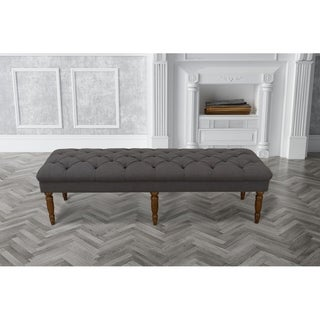 The Gray Barn Holden Hill Charcoal Grey Tufted Bench