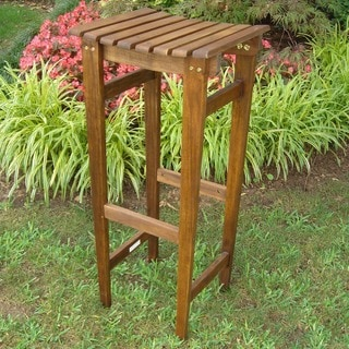 International Caravan Stained Backless Acacia Wood Barstools (Set of 2)