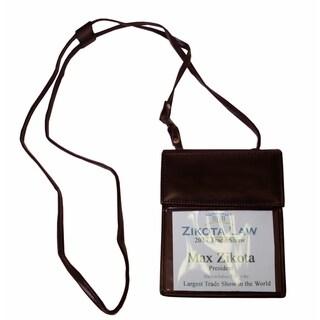 Dark Brown Bonded Leather Badge Holder
