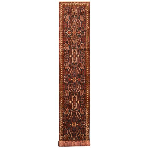 Handmade Herat Oriental Persian Hand-Knotted Tribal Hamadan Wool Runner (2'9 x 17'4) - 2'9 x 17'4 33632144