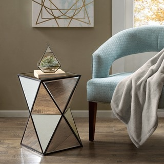 """Silver Orchid Harlow Blick Silver Angular Mirror Accent Table - 12.5""""w x 12.5""""d x 20""""h"""