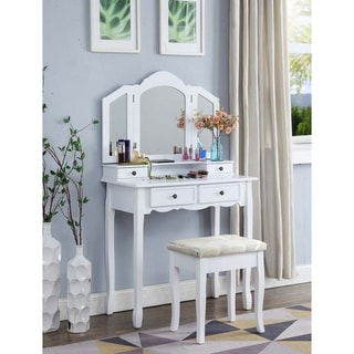 Copper Grove Ruscom White Wooden Vanity Make Up Table and Stool Set