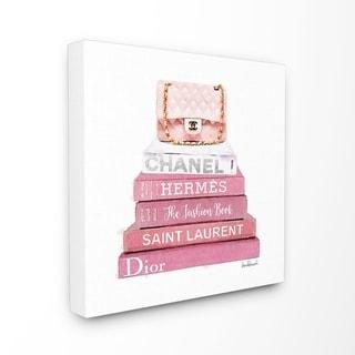 Stupell Industries Pink Book Stack Fashion Handbag Wall Art