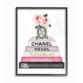 Stupell Industries Book Stack Fashion Candle Pink Rose Framed Wall Art