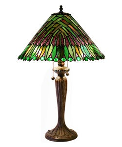 Tiffany-style Leaves Cone Table Lamp