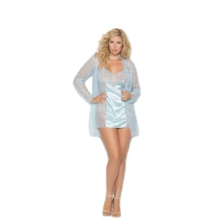 Elegant Moments Plus Size lace babydoll with jacket and g-string
