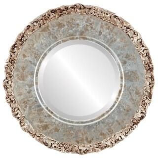 Williamsburg Framed Round Mirror in Champagne Silver