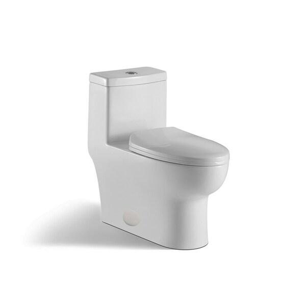 innoci-usa Contour 1-piece 0.8 GPF/1.28 GPF High Efficiency Dual Flush Elongated Toilet in White 33689541