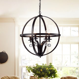 Aleesh 20-inch Oil Rubbed Bronze 4-light Globe Chandelier with Removable Crystals
