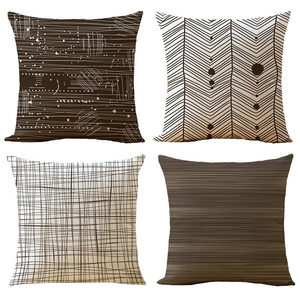Brown & Tan Geometric Covers Cushion Covers Pillowcase for Couch,Sofa