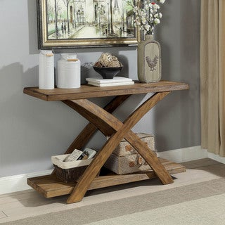 Furniture of America Vown Rustic Oak Solid Wood Rectangle Sofa Table