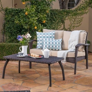 Honolulu Outdoor 2-piece Wicker Loveseat and Coffee Table Set with Cushions by Christopher Knight Home