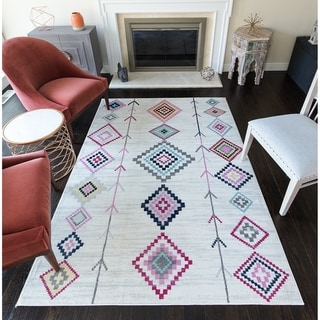 CosmoLiving Rumi Modern Diamond Boho Tribal Soft Area Rug