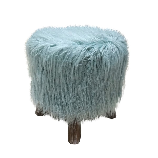 BLUE FAUX FUR STOOL WITH WHITE WASHED LEGS 33715726