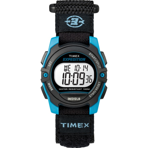 Timex Unisex TW4B12900 Expedition Mid-Size Digital CAT Black/Blue Fast Wrap Strap Watch 33715890