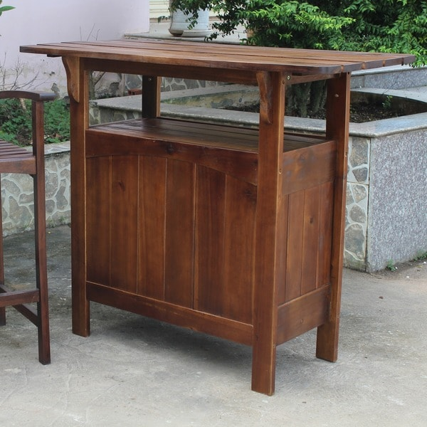International Caravan Outdoor Wooden Bar Table 10331676