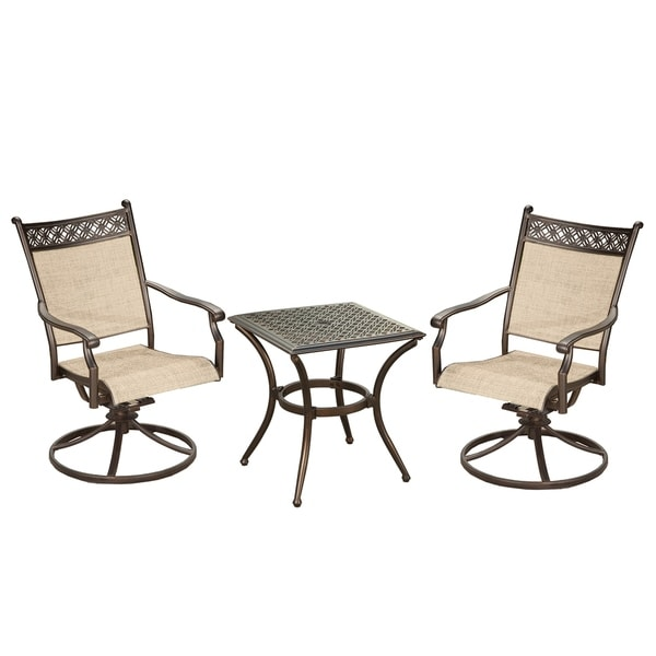 Brown Sling Outdoor Indoor Swivel Rockers and 19 inch Square Table 33729798