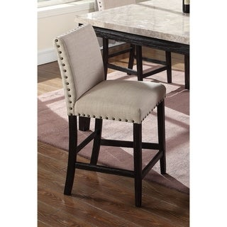 Best Master Furniture Antique Black Upholstered Linen Distressed Counter Height Chair (Set of 2)