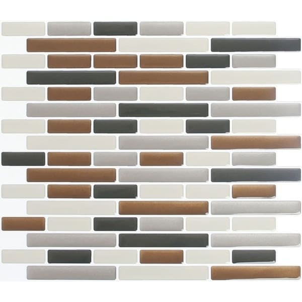 Peel and Impress  Vinyl  Adhesive Wall Tile  9.3 in. W x 11 in. L Glass Brown Oblong  4 pk 33770867